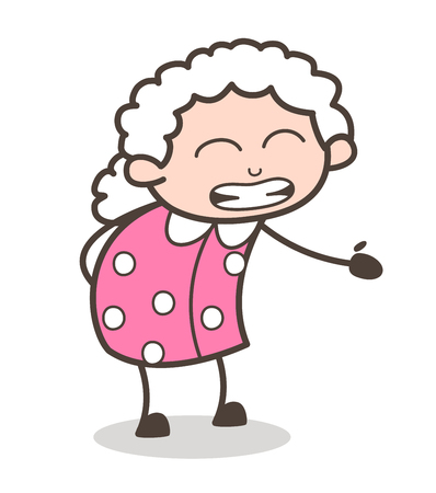 Cartoon Granny Getting Irritate Face Expression Vector Illustration