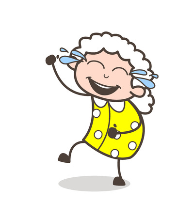 Cartoon Funny Granny Laughing with Joy of Tears Vector Illustration
