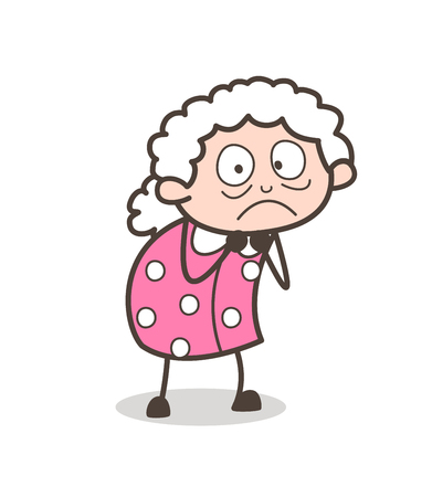 Cartoon Frightened Old Granny Vector Expression