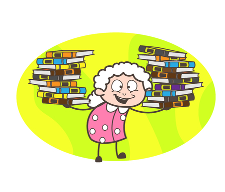 Cartoon Grandma Presenting Flock of Books Vector Illustration