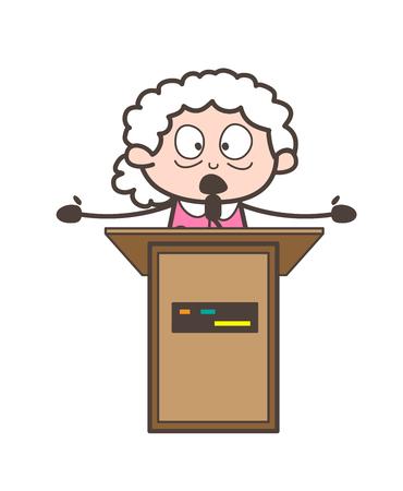 Cartoon Granny Announcing in Seminar Vector Illustration Çizim