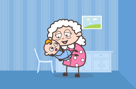 Cartoon Granny Playing with Cute New Born Grandson Vector Graphic