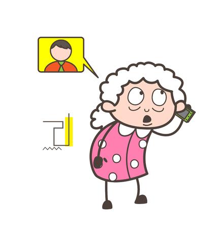 Cartoon Grandmother Talking on Phone Vector Illustration
