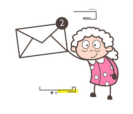 Cartoon Grandma Showing Message Vector Illustration