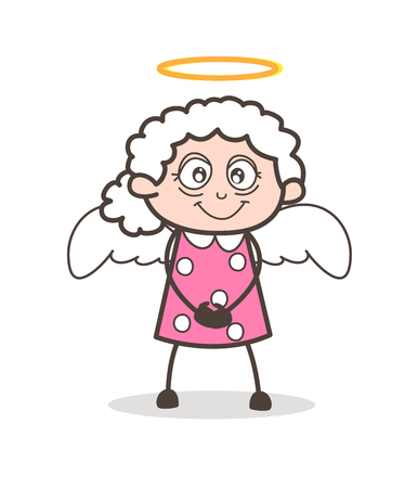 Cartoon Cute Granny Angel Vector Character Imagens - 83723754