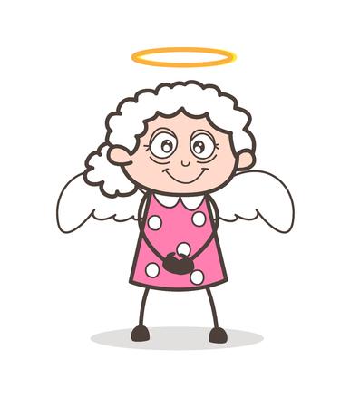 Cartoon Cute Granny Angel Vector Character