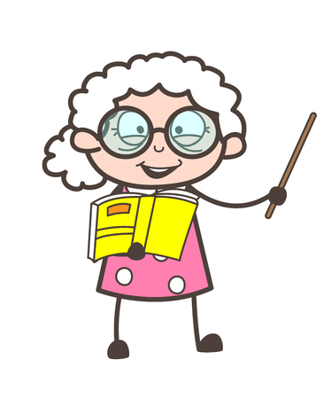 Cartoon Old Teacher Teaching in Classroom Vector Illustration