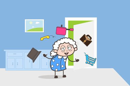 Cartoon Granny Presenting an Elements to Choose Vector Illustration Illustration