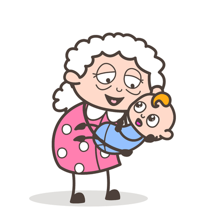 Cartoon Grandmother Lifted a Baby in the Lap Vector Graphic