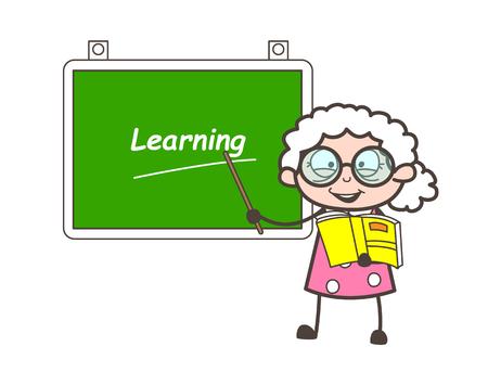 Cartoon Old Professor Showing Learning Board Vector Illustration