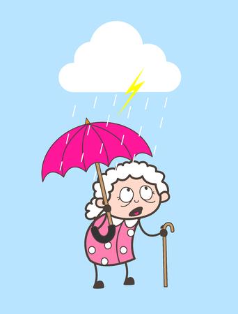 Cartoon Granny Standing in Rain Vector Illustration