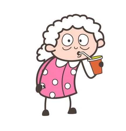 Cartoon Grandma Drinking Juice Vector Illustration