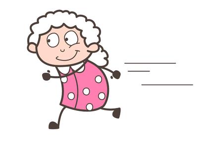 Cartoon grandma running vector illustration