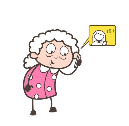 Cartoon grandma chatting on mobile vector concept