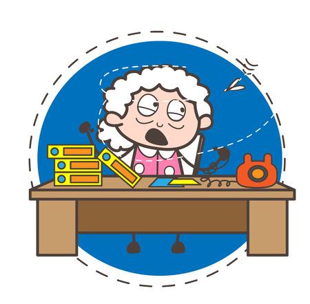 Cartoon a fly disturbing granny when she dealing a client vector concept