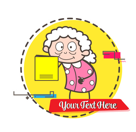 Cartoon granny presenting a lullaby book vector illustration
