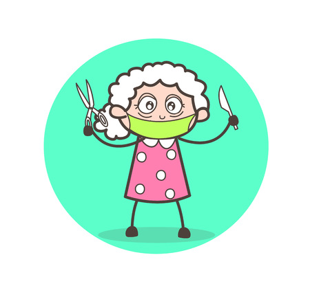 surgeon mask: Cartoon granny with scissors and knife vector illustration