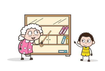 Cartoon granny showing books shelf to her grandson vector graphic