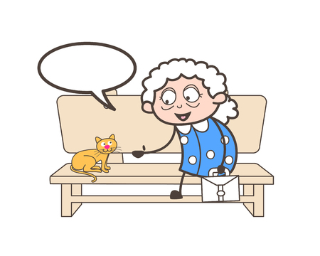 Cartoon old woman talking with pet cat vector concept Illustration