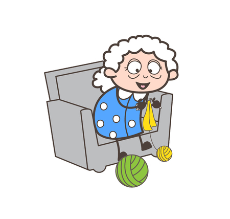 Cartoon happy old lady making design with woolen vector illustration