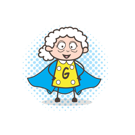 Cartoon super-granny character vector illustration Illustration
