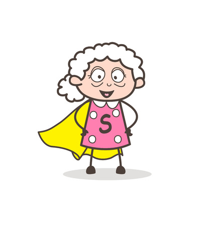 Cartoon super grandmother character vector illustration