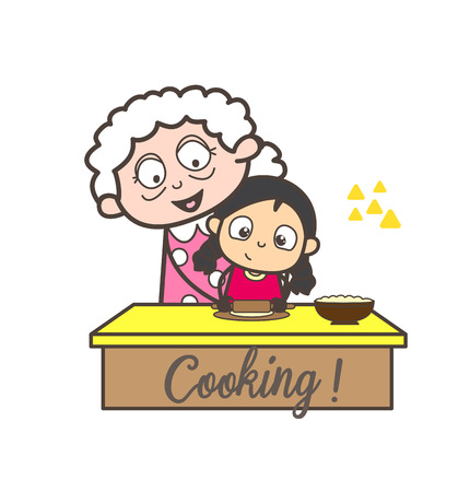 Cartoon granny teaching cooking to her granddaughter vector illustration 矢量图像