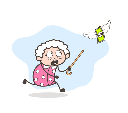 lose: Cartoon old lady running for money vector concept