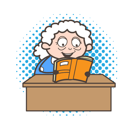 Cartoon granny reading funny jokes and laughing vector graphic