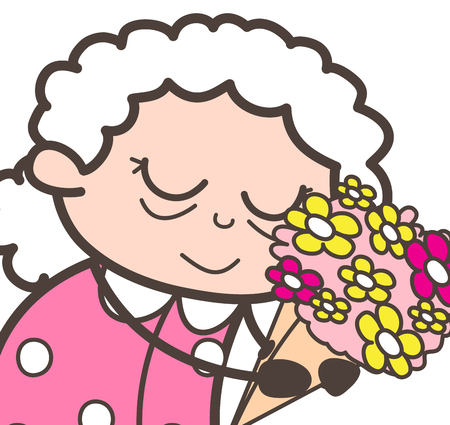 Cartoon Old Lady Reminding Old Memorable Moments Vector Concept Illustration