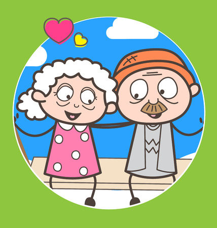 Cartoon romantic old age couple vector illustration
