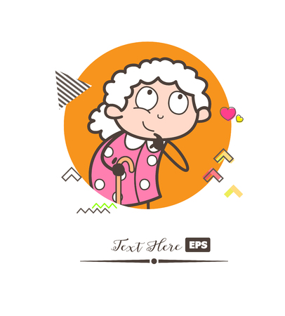 Cartoon old lady thinking pose vector illustration
