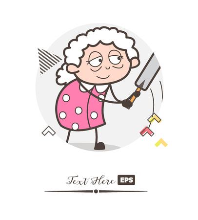 Cartoon grandmother playing with bat vector illustration