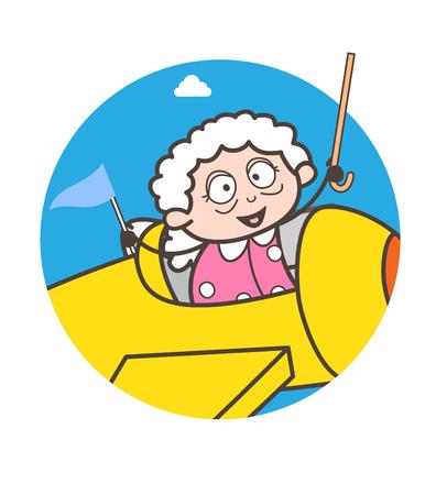 Cartoon funny granny in plane vector illustration