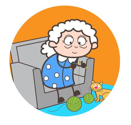 Cartoon old woman making woollen dress vector illustration