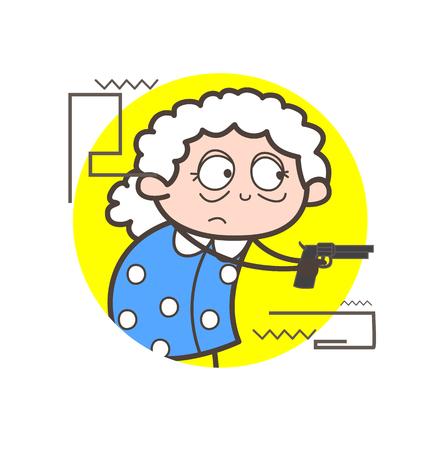 Cartoon old lady showing gun in self-defense vector illustration