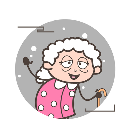 Cartoon happy old lady gesturing with hand vector illustration
