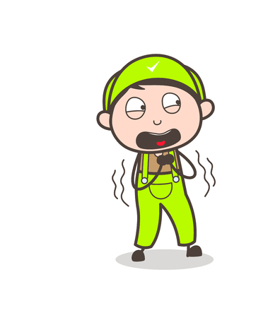 Cartoon Fearful Boy Screaming Vector Illustration
