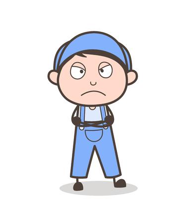 Cartoon Unhappy Boy Face Vector Illustration