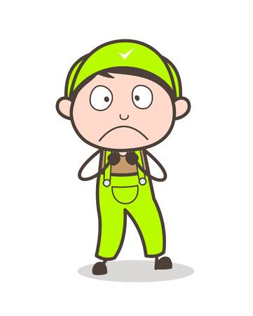 Cartoon Scared Boy Face Vector Illustration