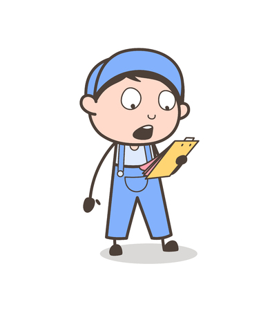 Cartoon Foreman Announcing List of Works Vector Concept Illustration