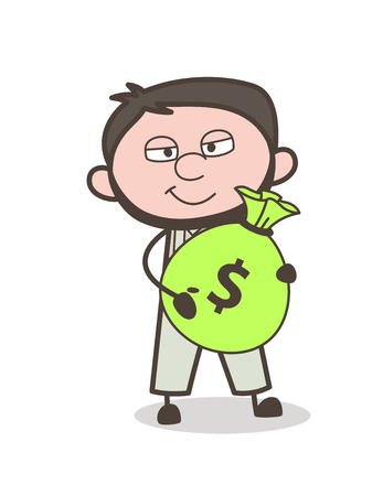 Cartoon Man Giving Money Bag for Bribe Vector Concept