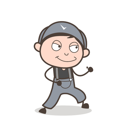 Cartoon Naughty Young Boy Face Expression Vector Illustration