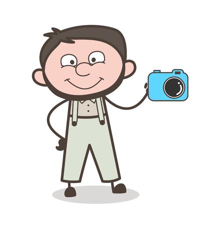 Cartoon Man Promoting a Camera Vector Illustration
