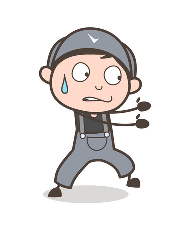Cartoon Young Boy Pulling Expression Vector Illustration