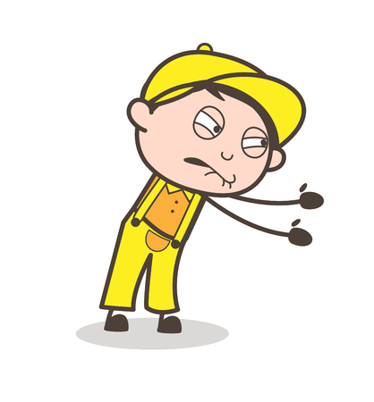 Cartoon Young Boy Trying to Pull Face Expression Vector Illustration
