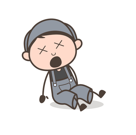 Cartoon Young Boy Fell Down and Hurt Vector Concept
