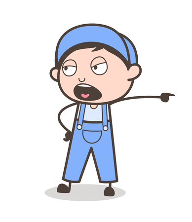 Cartoon Young Boy Shouting Expression Vector Illustration