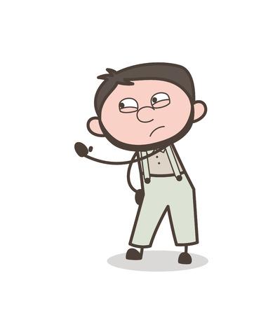 flushed: Cartoon Angry Man Hand Gesture Vector Illustration Illustration