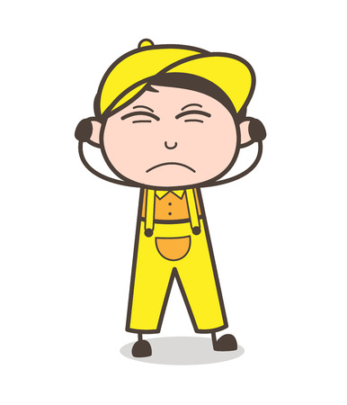 Cartoon Young Boy Irritated Expression Vector Illustration